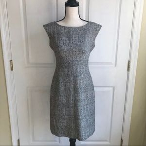 Tahari ASL heathered Grey Midi Professional Dress